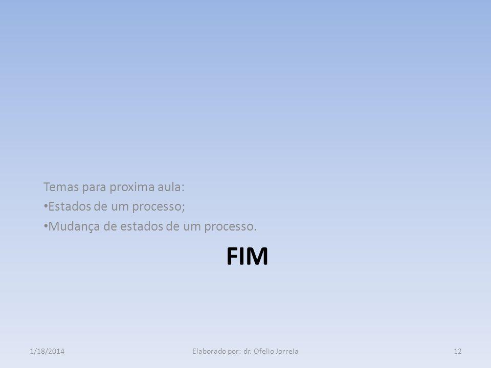FIM Temas para proxima aula: Estados de um processo; Mudança de estados de um processo. 1/18/201412Elaborado por: dr. Ofelio Jorreia