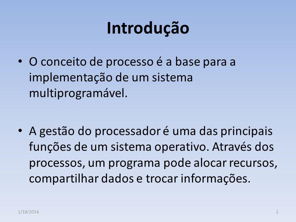 Introdução O conceito de processo é a base para a implementação de um sistema multiprogramável. A gestão do processador é uma das principais funções d