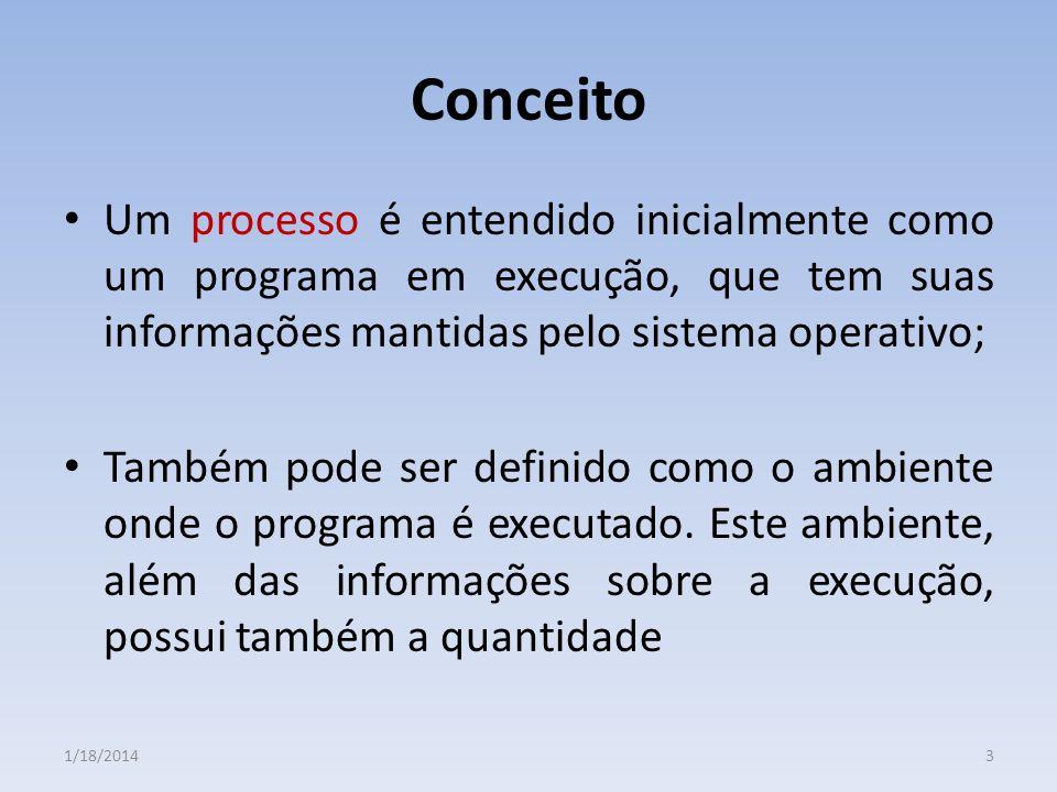 Conceito Um processo é entendido inicialmente como um programa em execução, que tem suas informações mantidas pelo sistema operativo; Também pode ser