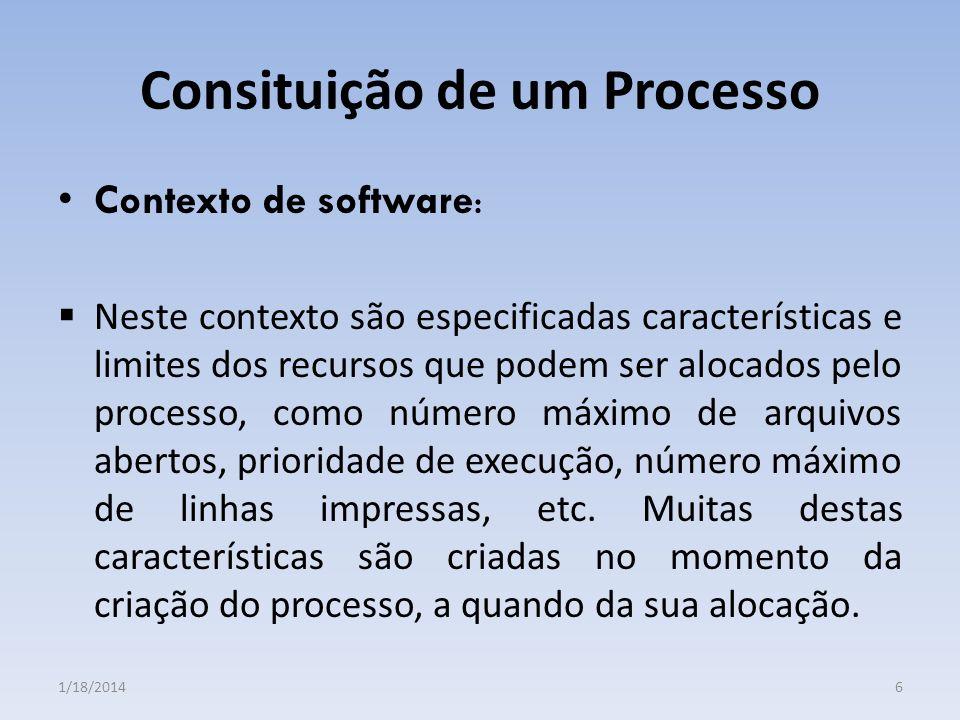 Consituição de um Processo Contexto de software : Neste contexto são especificadas características e limites dos recursos que podem ser alocados pelo