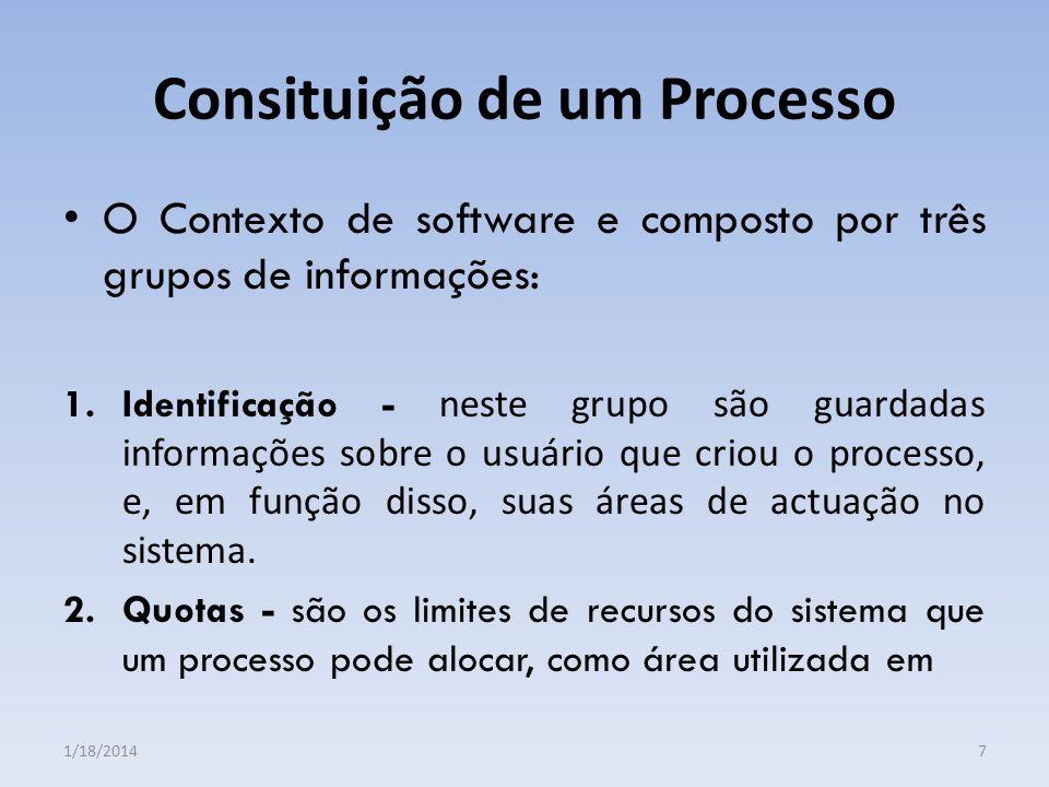 Consituição de um Processo O Contexto de software e composto por três grupos de informações: 1.Identificação - neste grupo são guardadas informações s