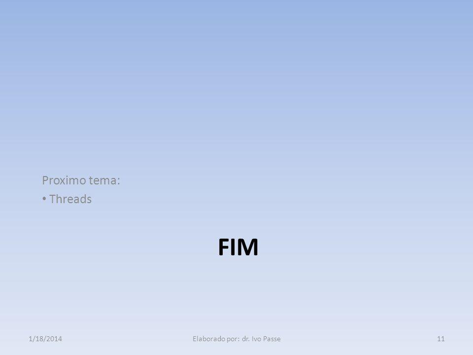 FIM Proximo tema: Threads 111/18/2014Elaborado por: dr. Ivo Passe