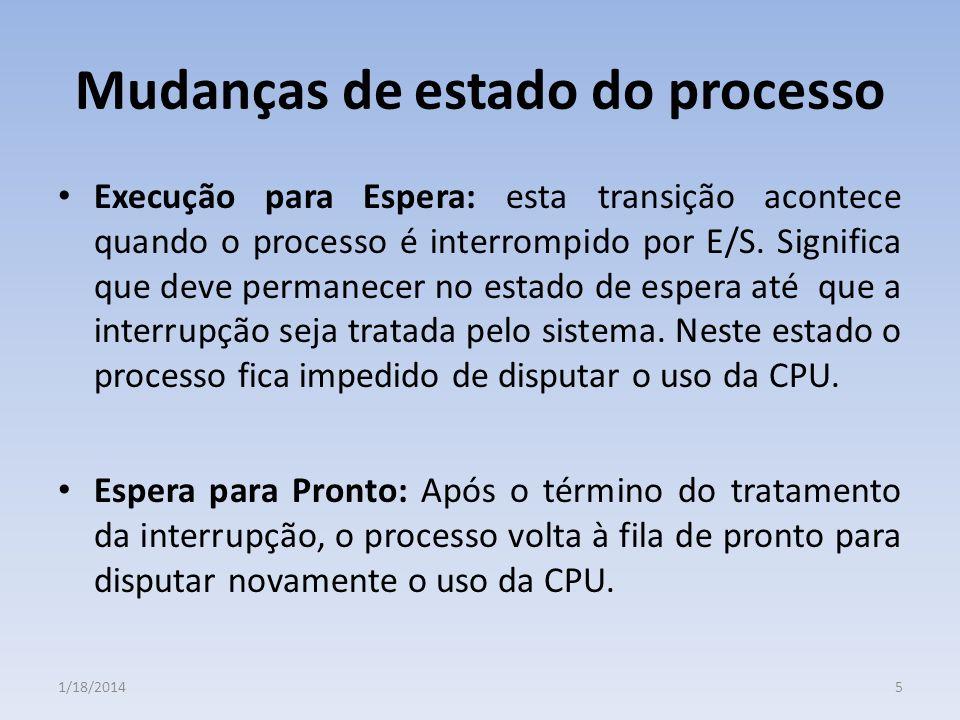 Mudanças de estado do processo Execução para Espera: esta transição acontece quando o processo é interrompido por E/S. Significa que deve permanecer n