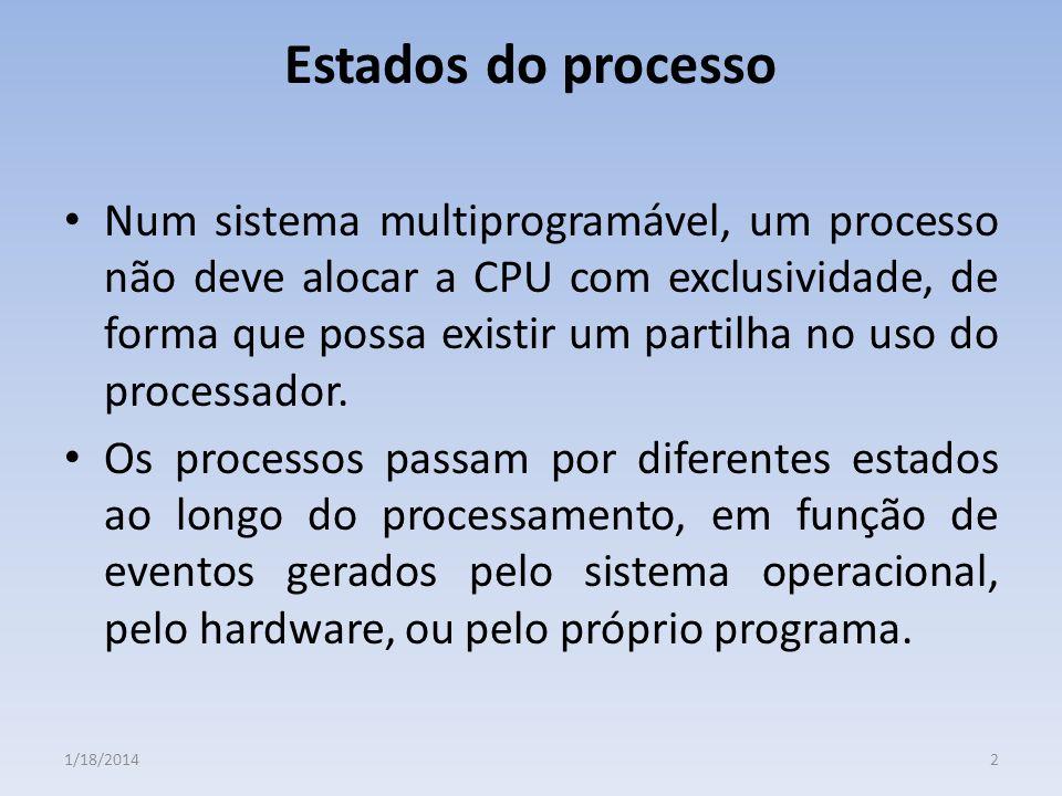 Estados do processo Num sistema multiprogramável, um processo não deve alocar a CPU com exclusividade, de forma que possa existir um partilha no uso d