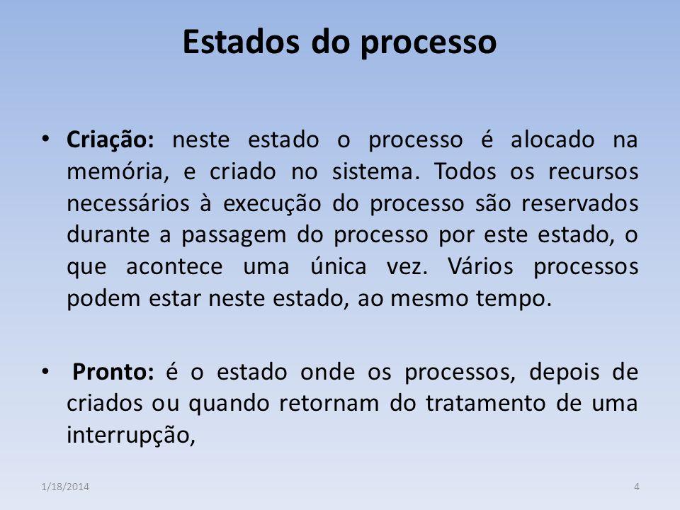 Estados do processo Criação: neste estado o processo é alocado na memória, e criado no sistema. Todos os recursos necessários à execução do processo s