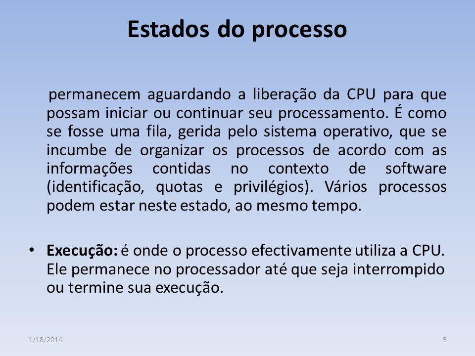 Estados do processo permanecem aguardando a liberação da CPU para que possam iniciar ou continuar seu processamento. É como se fosse uma fila, gerida
