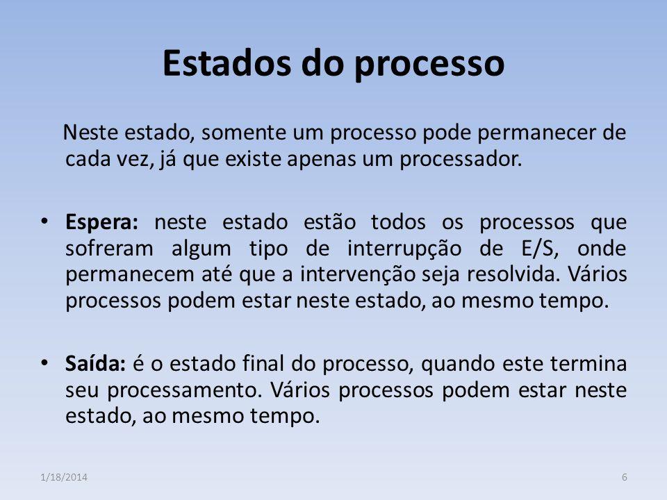 Estados do processo Neste estado, somente um processo pode permanecer de cada vez, já que existe apenas um processador. Espera: neste estado estão tod