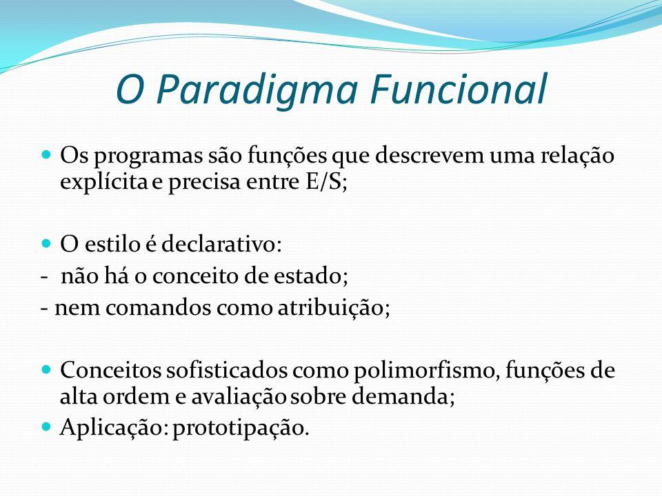 O Paradigma Funcional Os programas são funções que descrevem uma relação explícita e precisa entre E/S; O estilo é declarativo: - não há o conceito de