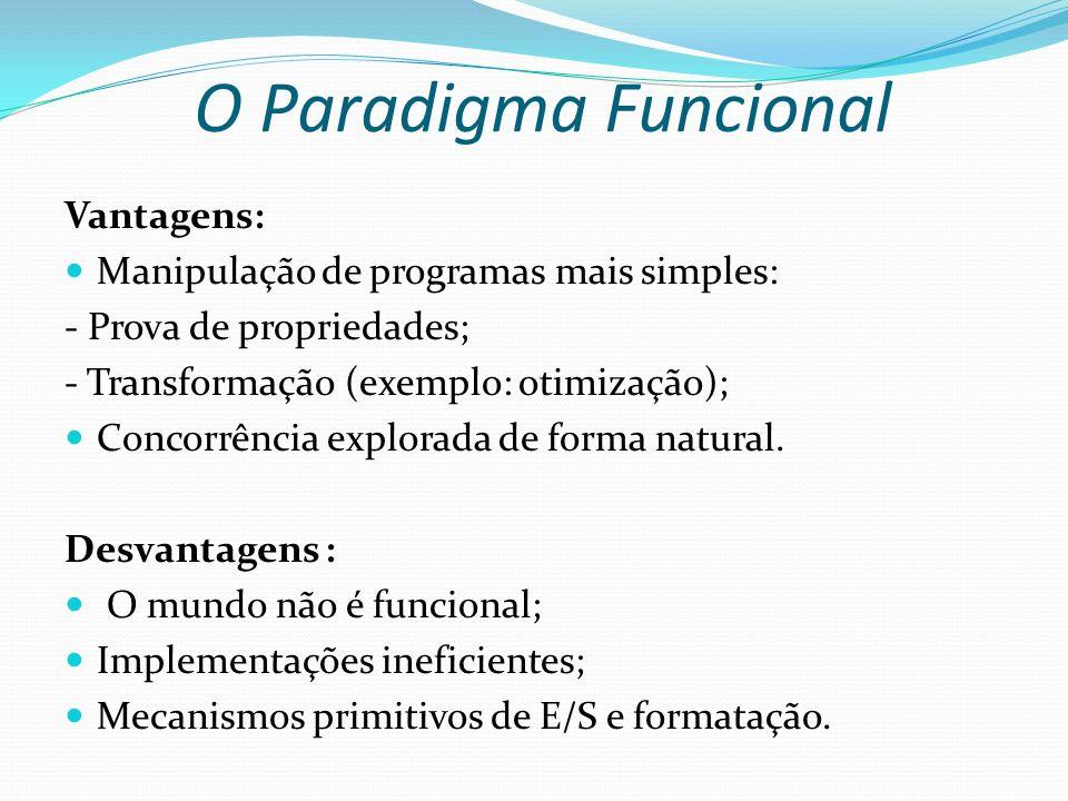 O Paradigma Funcional Vantagens: Manipulação de programas mais simples: - Prova de propriedades; - Transformação (exemplo: otimização); Concorrência e