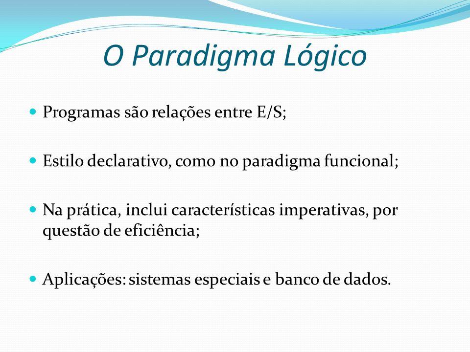 O Paradigma Lógico Programas são relações entre E/S; Estilo declarativo, como no paradigma funcional; Na prática, inclui características imperativas,