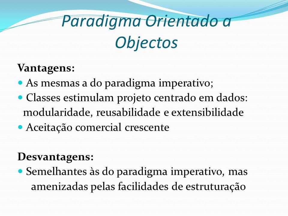 Paradigma Orientado a Objectos Vantagens: As mesmas a do paradigma imperativo; Classes estimulam projeto centrado em dados: modularidade, reusabilidad