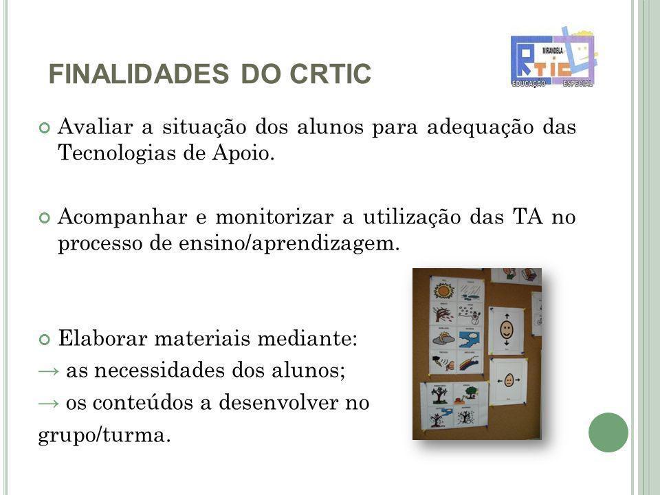 FINALIDADES DO CRTIC Avaliar a situação dos alunos para adequação das Tecnologias de Apoio.