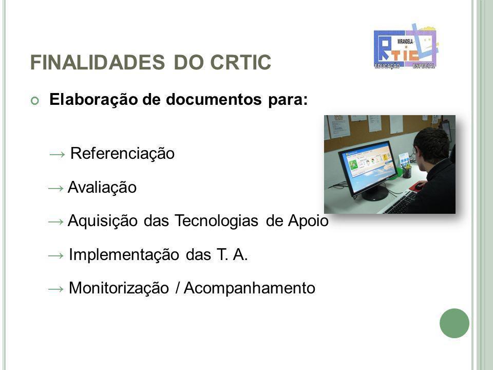 FINALIDADES DO CRTIC Elaboração de documentos para: Referenciação Avaliação Aquisição das Tecnologias de Apoio Implementação das T.