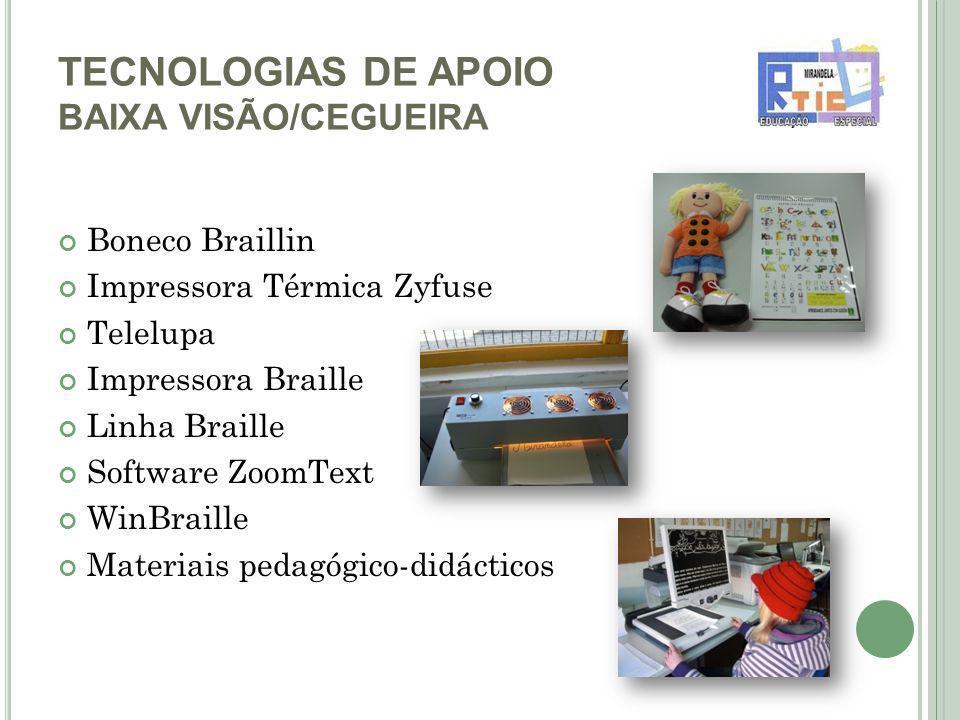 TECNOLOGIAS DE APOIO BAIXA VISÃO/CEGUEIRA Boneco Braillin Impressora Térmica Zyfuse Telelupa Impressora Braille Linha Braille Software ZoomText WinBraille Materiais pedagógico-didácticos