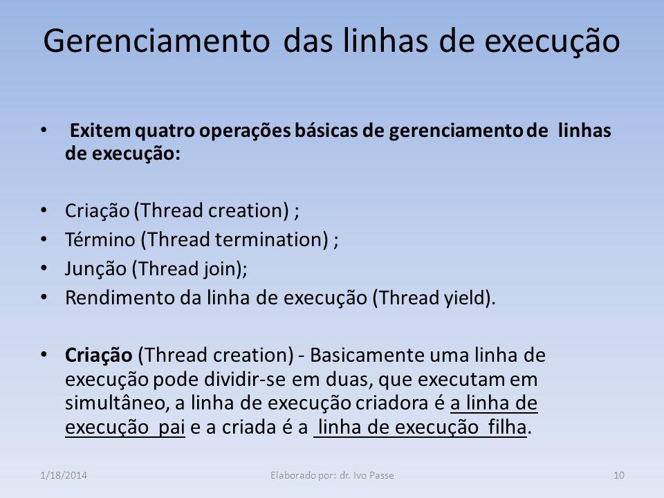 Gerenciamento das linhas de execução Exitem quatro operações básicas de gerenciamento de linhas de execução: Criação (Thread creation) ; Término (Thre