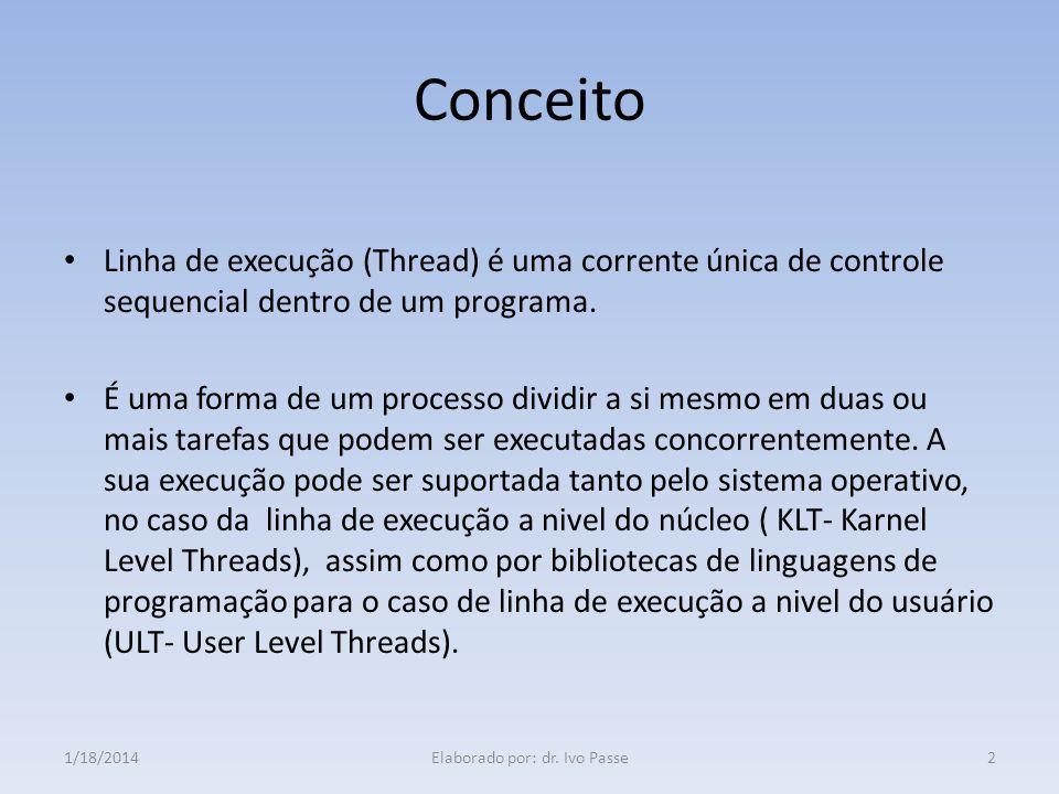 Conceito Linha de execução (Thread) é uma corrente única de controle sequencial dentro de um programa. É uma forma de um processo dividir a si mesmo e