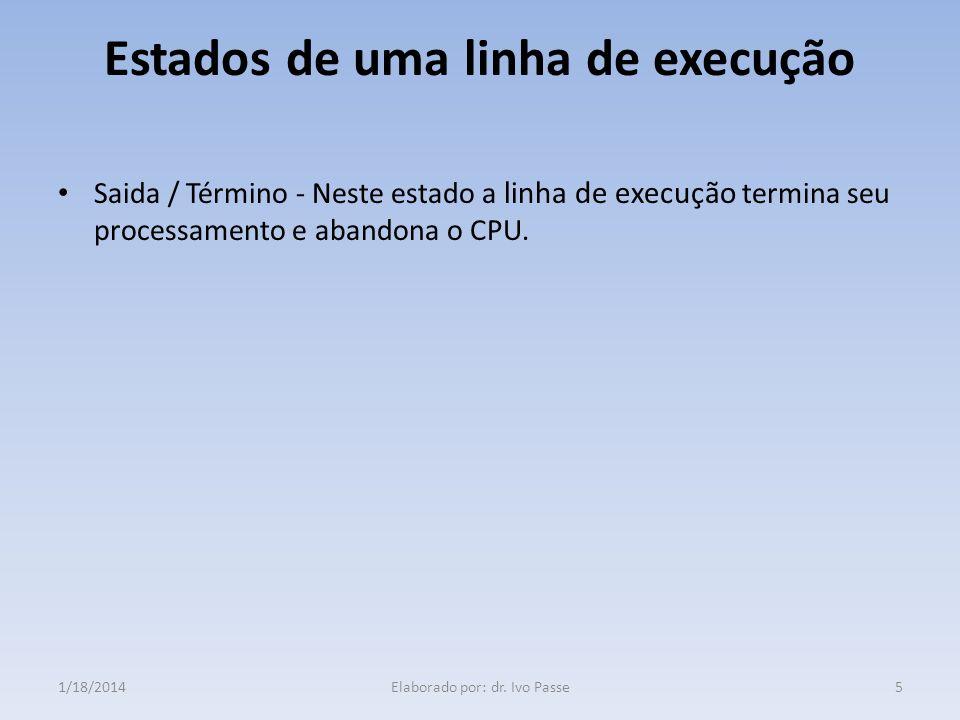 Estados de uma linha de execução Saida / Término - Neste estado a linha de execução termina seu processamento e abandona o CPU. 51/18/2014Elaborado po
