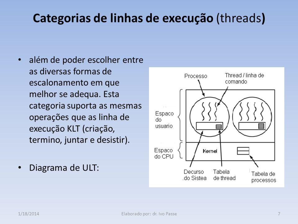 Categorias de linhas de execução (threads) Linha de execução a nivel do núcleo ( KLT- Karnel Level Threads) KLT, o gerenciamento de linha de execução KLT não é realizado através do código do próprio programa tal como o ULT; todo o processo é gerido pelo sistema operativo.