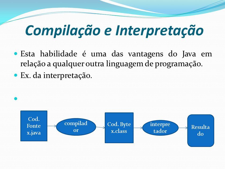 Compilação e Interpretação Esta habilidade é uma das vantagens do Java em relação a qualquer outra linguagem de programação. Ex. da interpretação. Cod