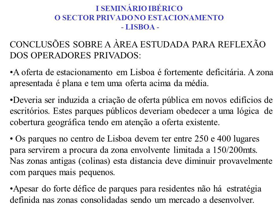 CONCLUSÕES SOBRE A ÀREA ESTUDADA PARA REFLEXÃO DOS OPERADORES PRIVADOS: A oferta de estacionamento em Lisboa é fortemente deficitária. A zona apresent