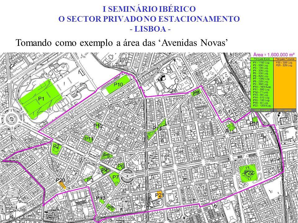 AREA TOTAL 1.600.000 m2 CONSTRUÇÃO ESTIMADA 5.000.000 m2 LUGARES PUBLICOS PDM 50.000 LUGARES EXISTENTES 17.600 Via Pública 8.900 Cartões de Residente 8.000 Lugares ocupados de dia pelos residentes 3.100 Lugares Livres para Rotação na Via Pública 5.600 Lugares em Parques Existentes 11.250 Lugares Previstos em Parques 750 DEFICE de LUGARES 32.400 I SEMINÁRIO IBÉRICO O SECTOR PRIVADO NO ESTACIONAMENTO - LISBOA – Avs Novas