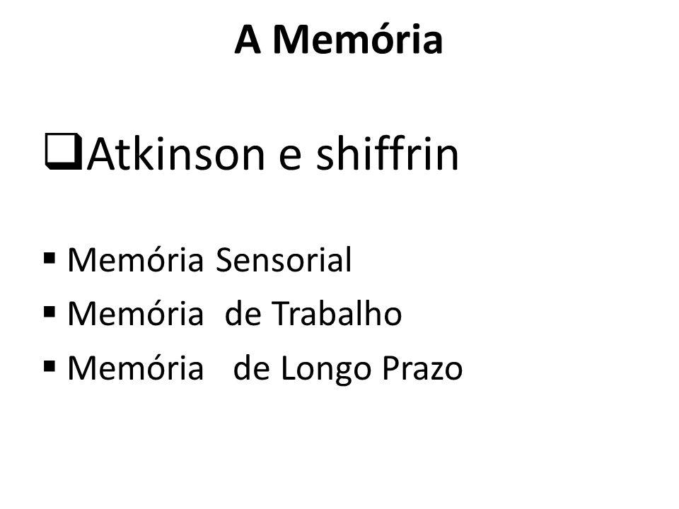 A Memória Atkinson e shiffrin Memória Sensorial Memória de Trabalho Memória de Longo Prazo
