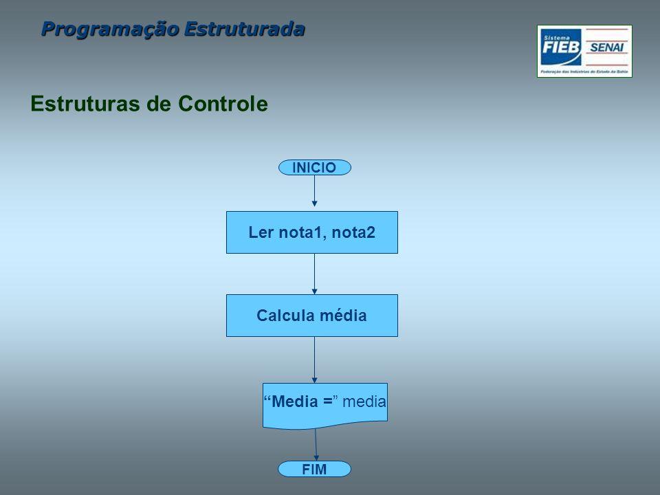 Programação Estruturada FIM INICIO Calcula média Ler nota1, nota2 Media = media Estruturas de Controle