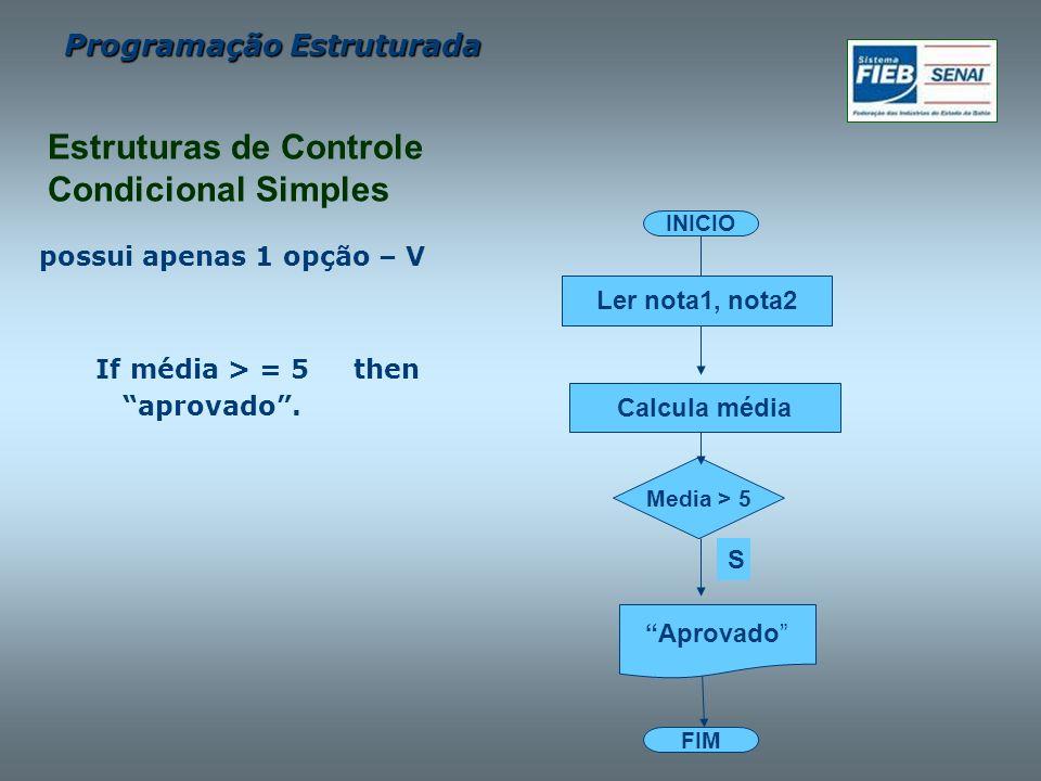 Programação Estruturada possui apenas 1 opção – V If média > = 5 then aprovado. FIM INICIO Calcula média Ler nota1, nota2 Aprovado Media > 5 S Estrutu