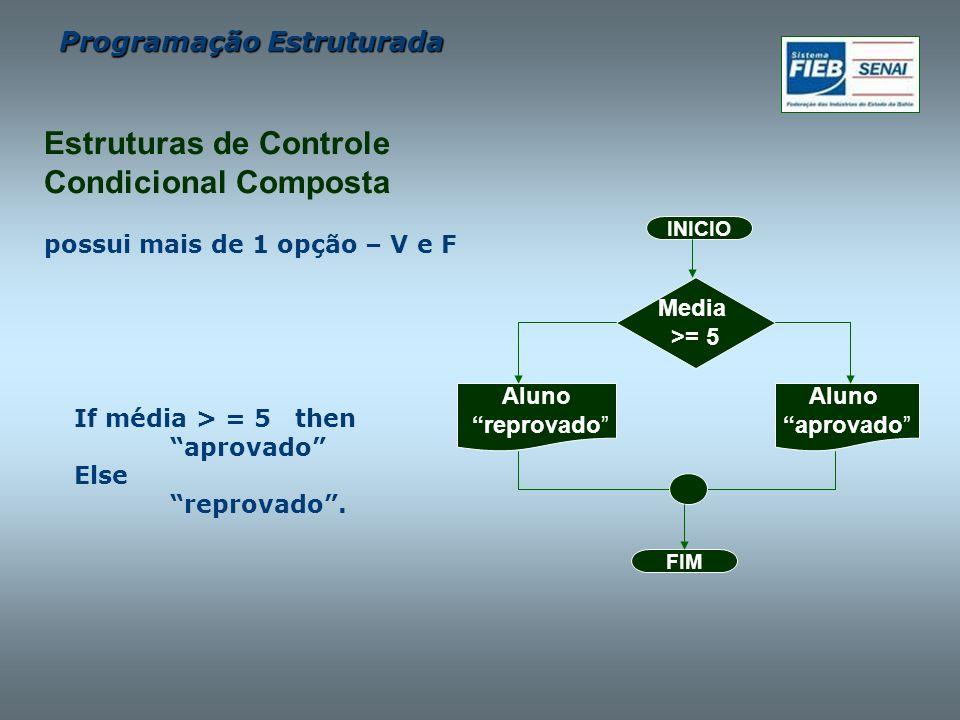 Programação Estruturada possui mais de 1 opção – V e F If média > = 5 then aprovado Else reprovado. FIM INICIO Media >= 5 Aluno aprovado Aluno reprova