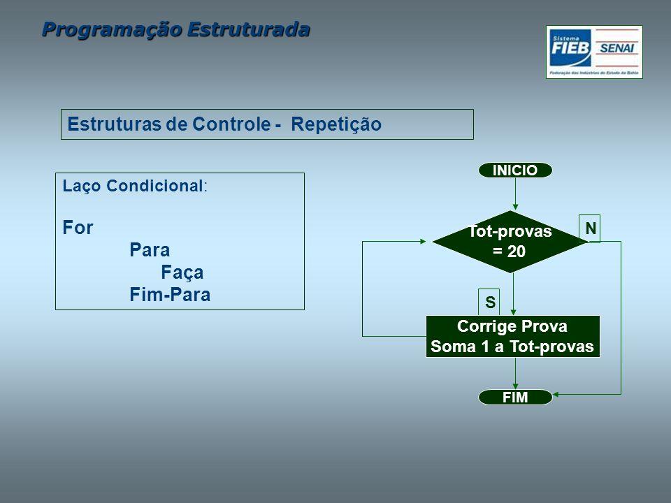 Programação Estruturada Laço Condicional: For Para Faça Fim-Para Estruturas de Controle - Repetição FIM Tot-provas = 20 INICIO S Corrige Prova Soma 1
