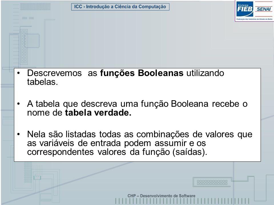 Descrevemos as funções Booleanas utilizando tabelas. A tabela que descreva uma função Booleana recebe o nome de tabela verdade. Nela são listadas toda