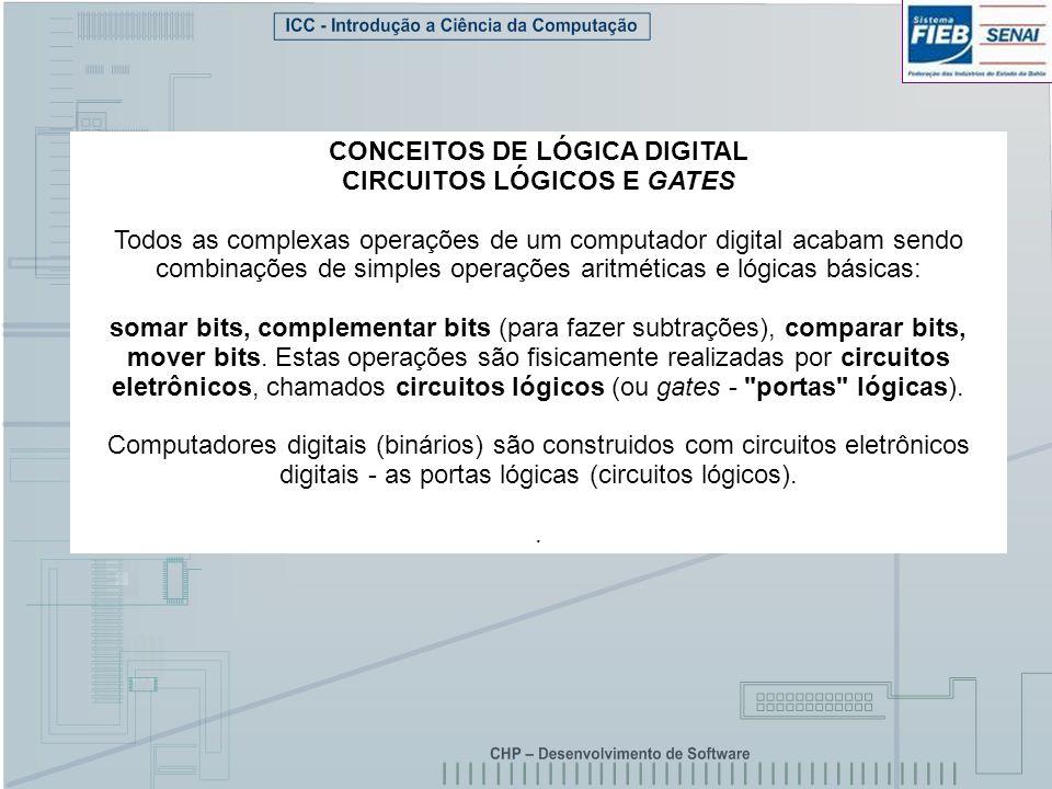 CONCEITOS DE LÓGICA DIGITAL CIRCUITOS LÓGICOS E GATES Todos as complexas operações de um computador digital acabam sendo combinações de simples operaç