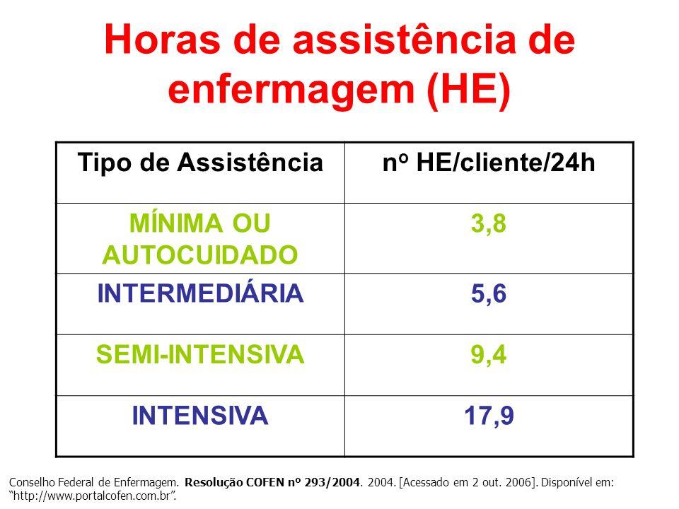 Horas de assistência de enfermagem (HE) Conselho Federal de Enfermagem. Resolução COFEN nº 293/2004. 2004. [Acessado em 2 out. 2006]. Disponível em: h
