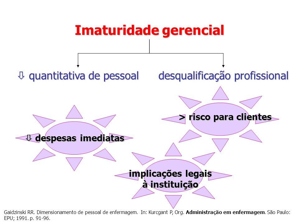Superdimensionamento Subdimensionamento custos (pagamento de pessoal) custo no tratamento eficácia qualidade tempo de internação Sobrecarga de trabalho risco de IH Queijo AF, Padilha KG.