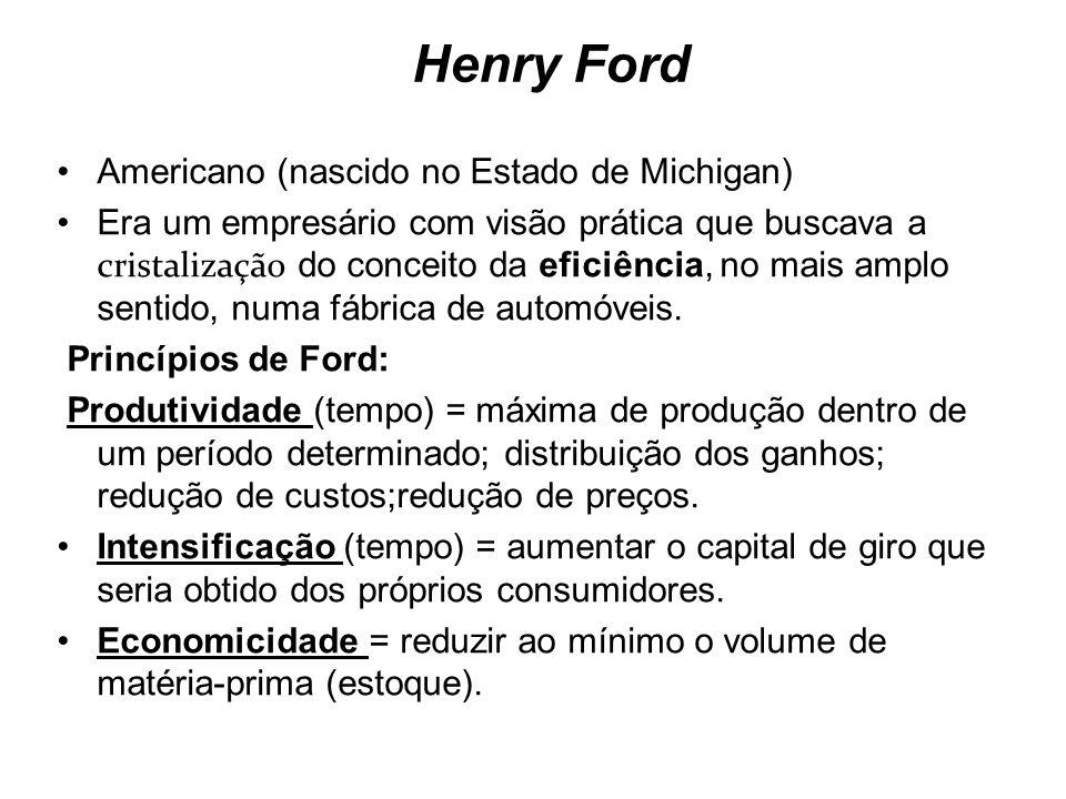 Henry Ford Americano (nascido no Estado de Michigan) Era um empresário com visão prática que buscava a cristalização do conceito da eficiência, no mai