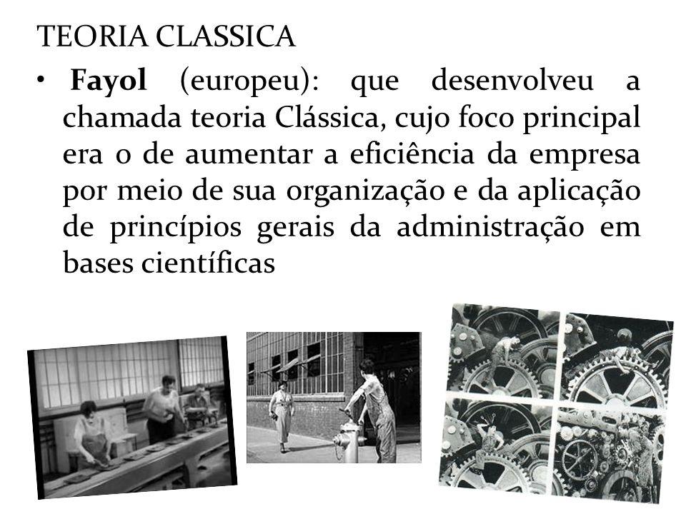 TEORIA CLASSICA Fayol (europeu): que desenvolveu a chamada teoria Clássica, cujo foco principal era o de aumentar a eficiência da empresa por meio de
