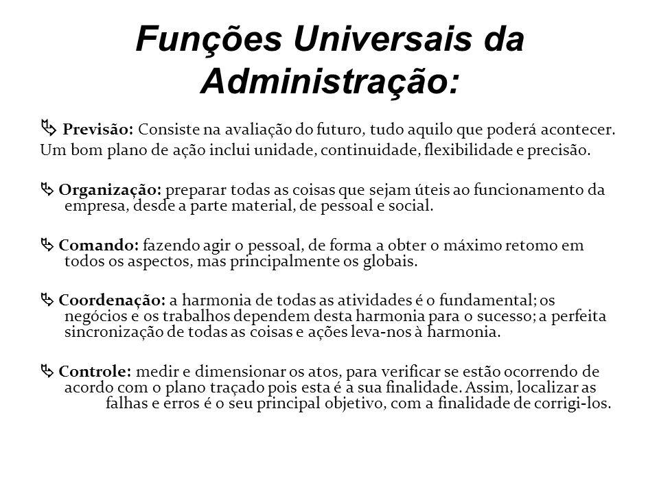 Funções Universais da Administração: Previsão: Consiste na avaliação do futuro, tudo aquilo que poderá acontecer. Um bom plano de ação inclui unidade,