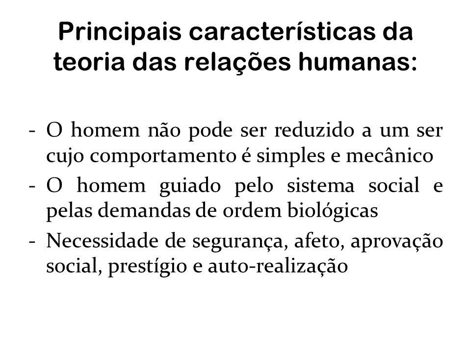 Principais características da teoria das relações humanas: -O homem não pode ser reduzido a um ser cujo comportamento é simples e mecânico -O homem gu