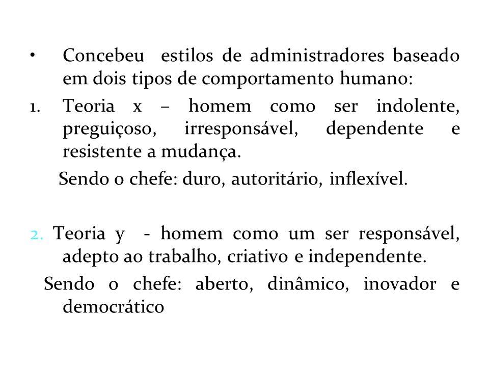 Concebeu estilos de administradores baseado em dois tipos de comportamento humano: 1.Teoria x – homem como ser indolente, preguiçoso, irresponsável, d