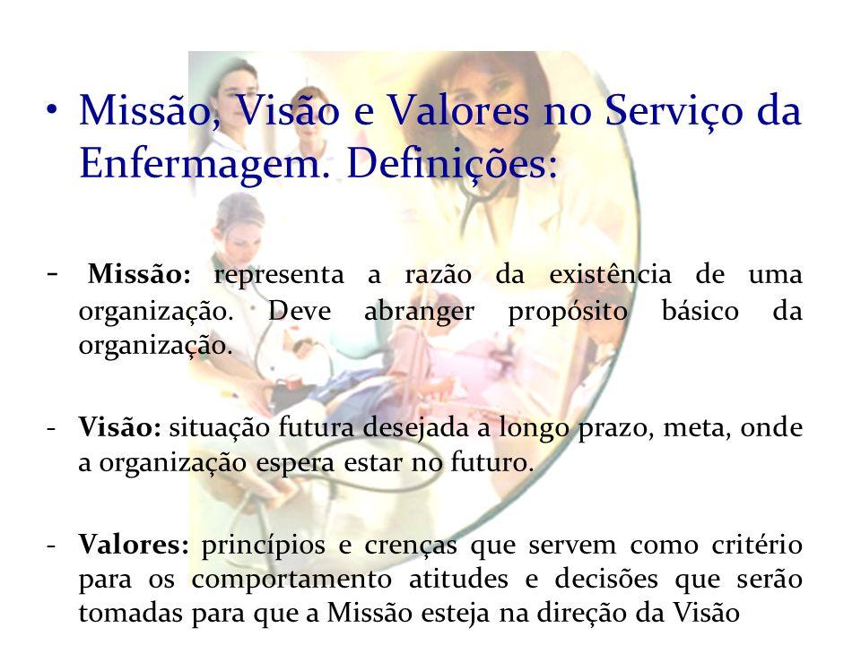 Missão, Visão e Valores no Serviço da Enfermagem. Definições: - Missão: representa a razão da existência de uma organização. Deve abranger propósito b