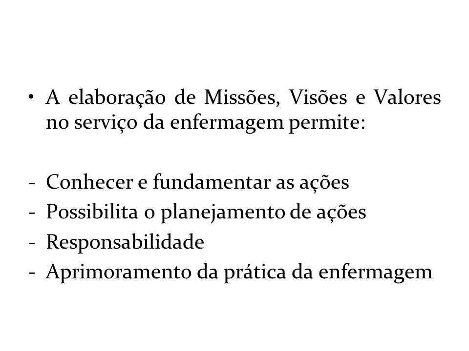 A elaboração de Missões, Visões e Valores no serviço da enfermagem permite: -Conhecer e fundamentar as ações -Possibilita o planejamento de ações -Res
