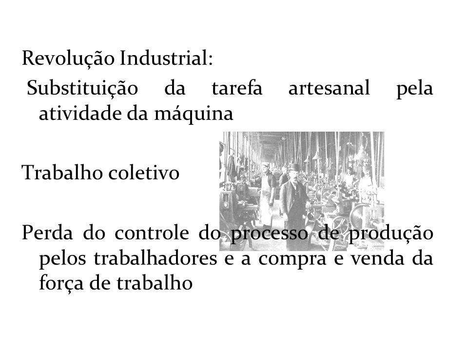 Revolução Industrial: Substituição da tarefa artesanal pela atividade da máquina Trabalho coletivo Perda do controle do processo de produção pelos tra