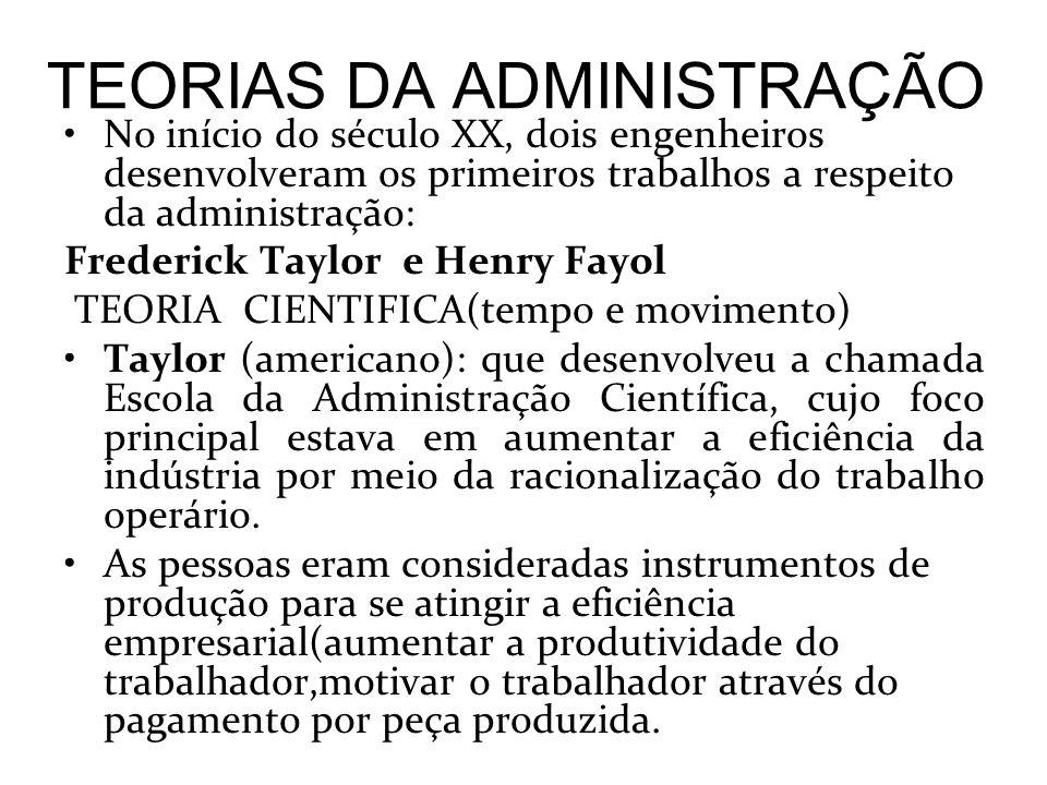 TEORIAS DA ADMINISTRAÇÃO No início do século XX, dois engenheiros desenvolveram os primeiros trabalhos a respeito da administração: Frederick Taylor e