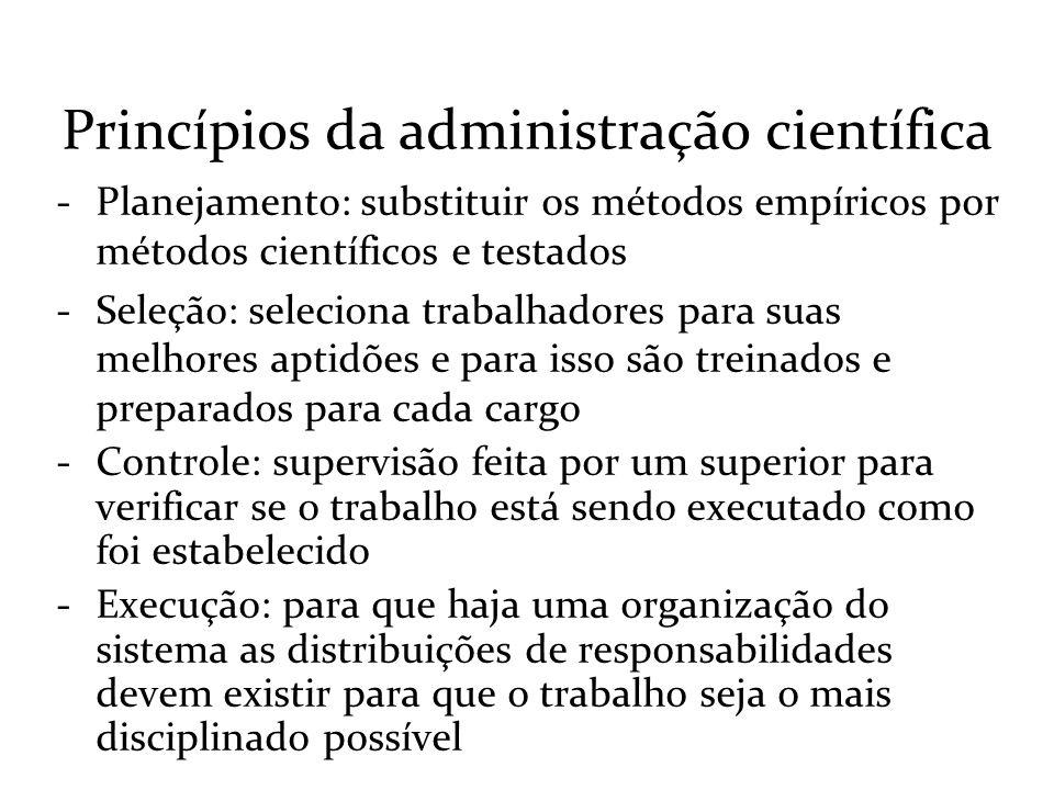 Princípios da administração científica -Planejamento: substituir os métodos empíricos por métodos científicos e testados -Seleção: seleciona trabalhad