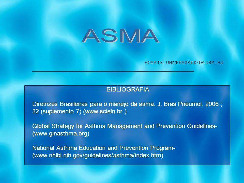 HOSPITAL UNIVERSITÁRIO DA USP - HU ________________________________________________ BIBLIOGRAFIA Diretrizes Brasileiras para o manejo da asma. J. Bras