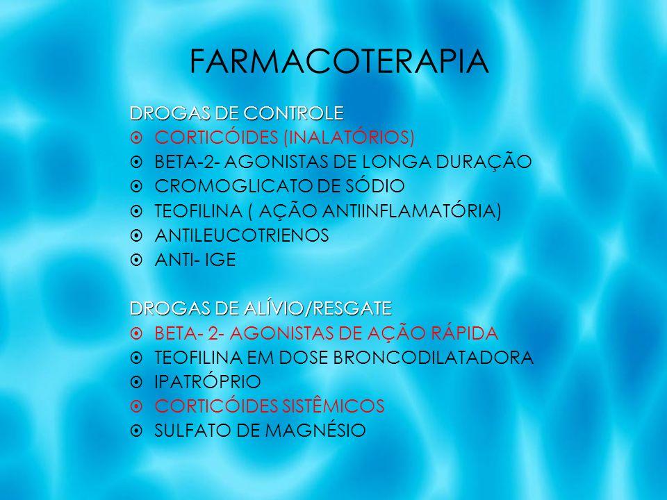 FARMACOTERAPIA DROGAS DE CONTROLE CORTICÓIDES (INALATÓRIOS) BETA-2- AGONISTAS DE LONGA DURAÇÃO CROMOGLICATO DE SÓDIO TEOFILINA ( AÇÃO ANTIINFLAMATÓRIA