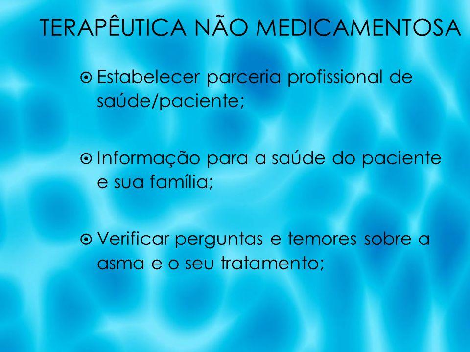 TERAPÊUTICA NÃO MEDICAMENTOSA Estabelecer parceria profissional de saúde/paciente; Informação para a saúde do paciente e sua família; Verificar pergun