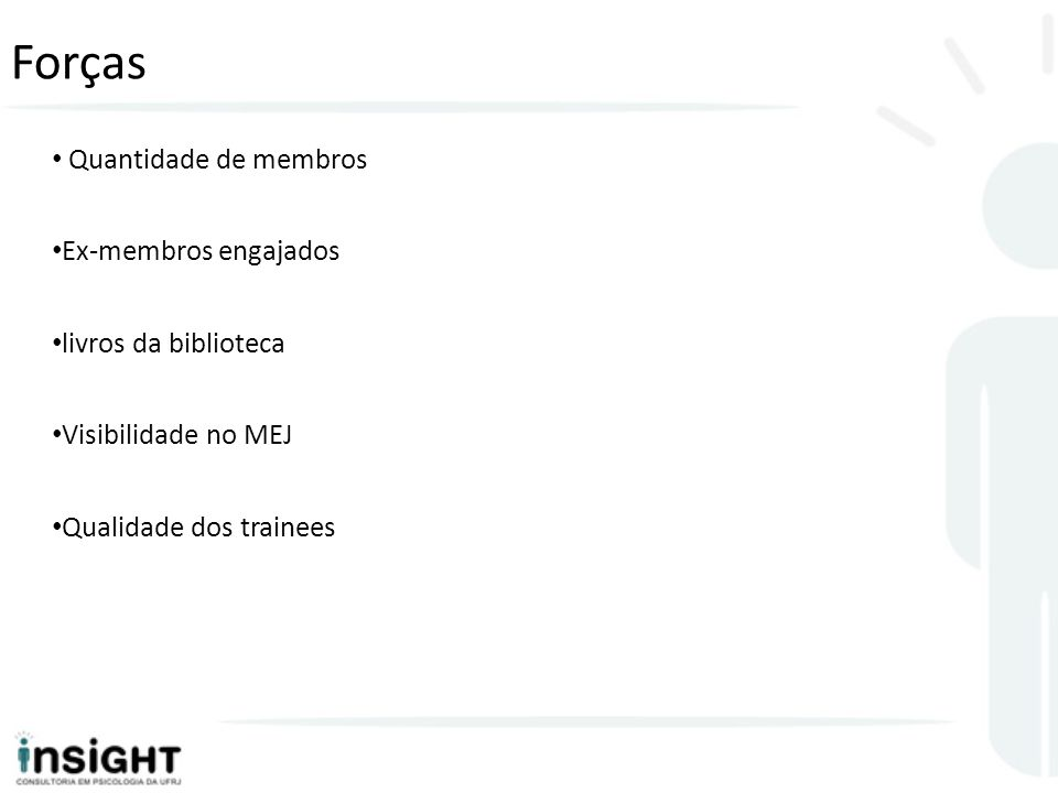 Forças Quantidade de membros Ex-membros engajados livros da biblioteca Visibilidade no MEJ Qualidade dos trainees