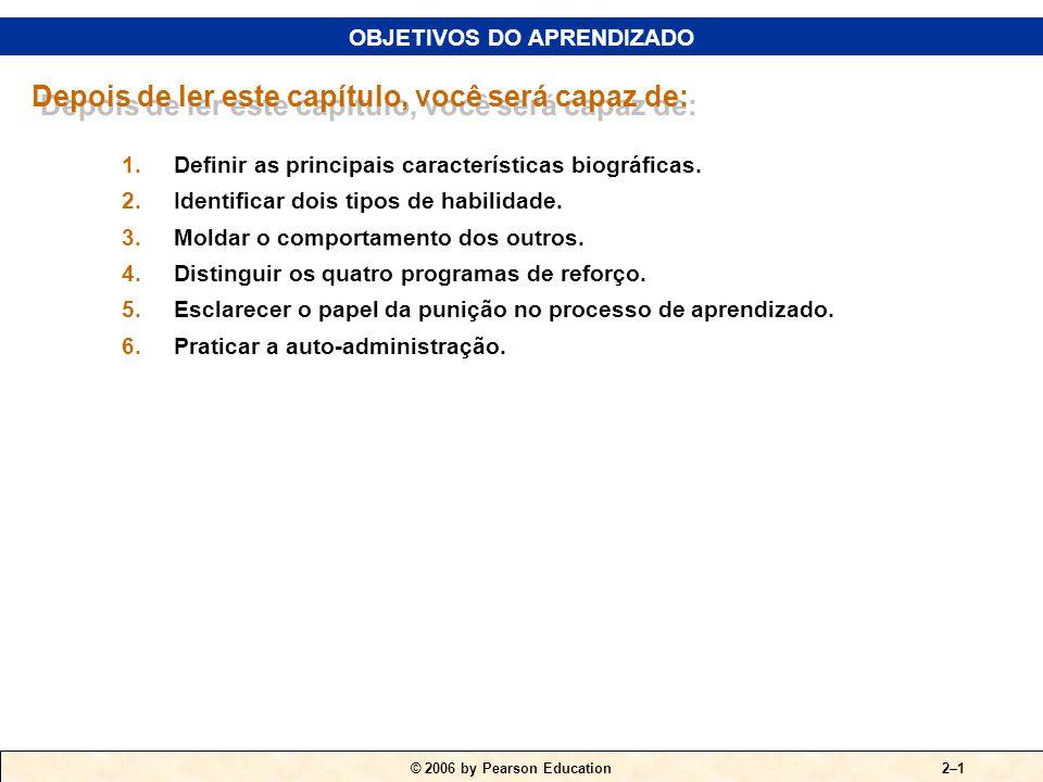 © 2006 by Pearson Education FUNDAMENTOS DO COMPORTAMENTO INDIVIDUAL PARTE II O INDIVÍDUO CAPÍTULO 2