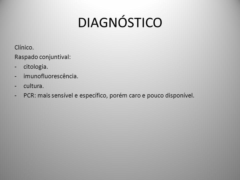 DIAGNÓSTICO Clínico. Raspado conjuntival: -citologia. -imunofluorescência. -cultura. -PCR: mais sensível e específico, porém caro e pouco disponível.